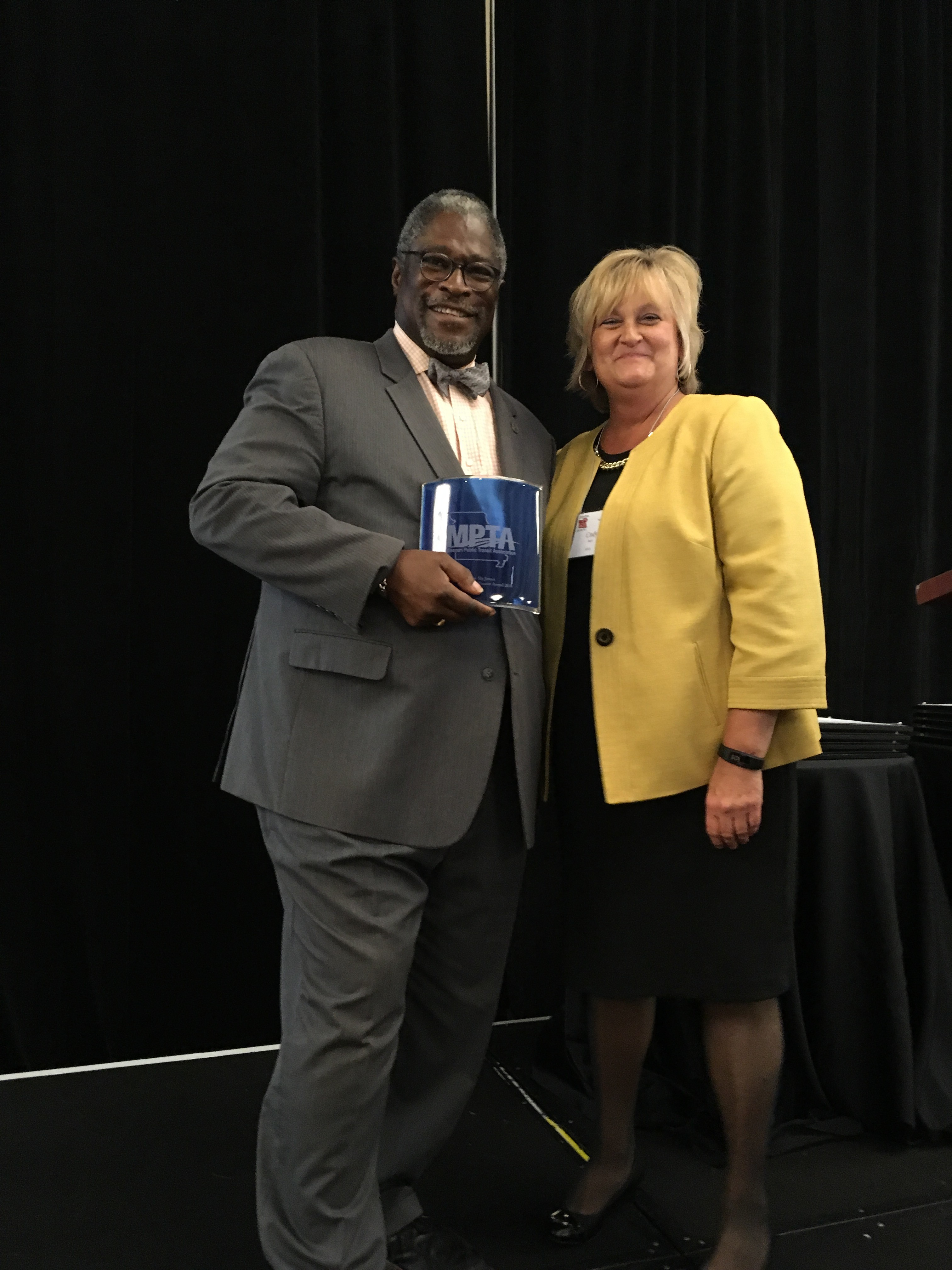 Mayor Sly James with KCATA's Cindy Baker at the 2016 MPTA Conference in Kansas City.